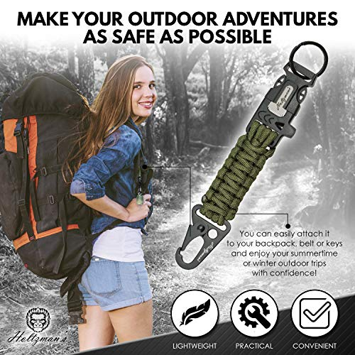 Ultimate 5-in-1 Paracord Keychain with Carabiner for Camping, Fishing, Hunting & Outdoor Emergencies | Multipurpose Survival Tool with Paracord, Emergency Whistle, Flint Rod, Cutting Tool & Key by Holtzman's Gorilla Survival (Image #2)