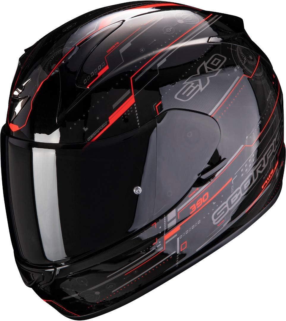 CASCO SCORPION EXO-390 BEAT BLACK-NEON RED XS
