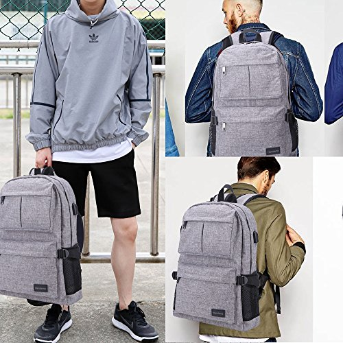 Hanxiema Travel Laptop Backpack Fit 15.6 Inch Laptop or Macbook Oxford Cloth with USB Charging Port Large Capacity School Computer Bag for Men Women (Grey HXm-02-1) by Hanxiema (Image #5)'