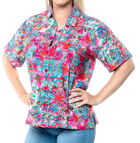 - LA LEELA Likre Luau Party Blouses Digital HD Shirt Pink 440|M - US 36 - 38D