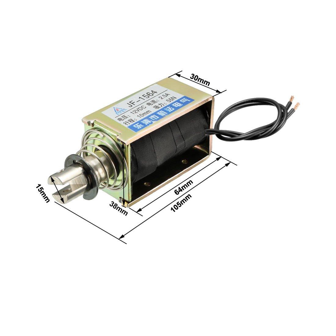 Spring Loaded Push-Pull Open Frame Solenoid Electromagnet 10mm 5kg DC 12V 400A Uxcell a14123000ux0135
