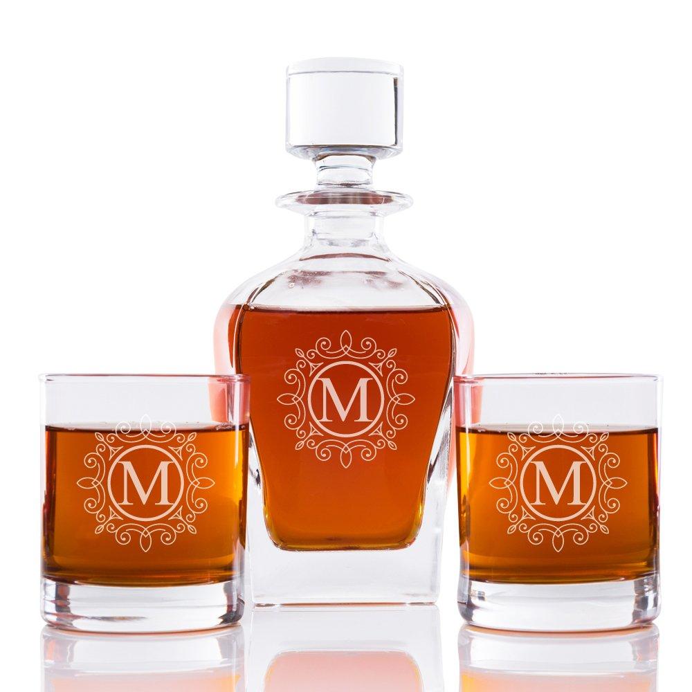 Ornate Monogram 24 oz. Whiskey Decanter and Rocks Glasses (Set of 3), Letter M