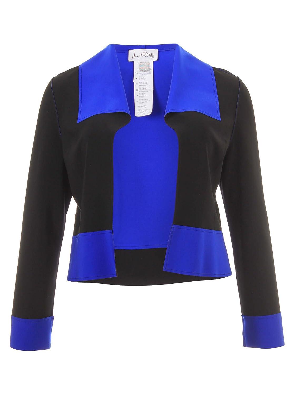 Kurze Jacke mit Color-Blocking-Elementen in schwarz/blau in Übergrößen (42, 44, 46, 48) von Joseph Ribkoff