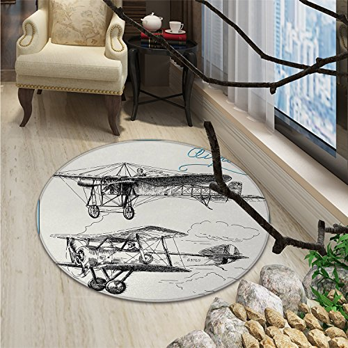 Rug Carpet Classic Nostalgic Planes Aircraft Propeller in the Sky Fast Travel Wings SketchOriental Floor and Carpets Blue Black ()