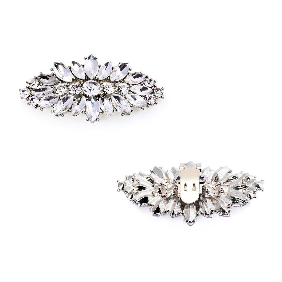 ElegantPark AW Women's Leaf Design Rhinestones Crystal Clutch Dress Hat Shoe Clips Silver 2 Pcs by ElegantPark (Image #7)