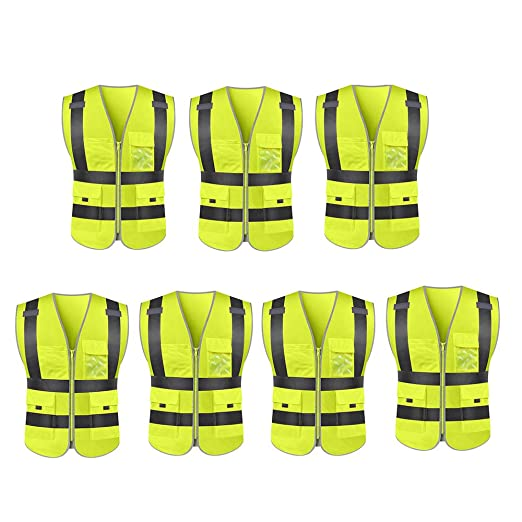 Chaleco de seguridad de construcción amarillo Multi bolsillo ...