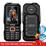Cectdigi T19 Military Rugged 3 Sim Card Mobile Phone Shockproof Dustproof 15800mAh Power Bank Cell Phone 3D Stereo Speaker Wireless FM 16:9 HD Screen Outdoor Activities Phone (Black)