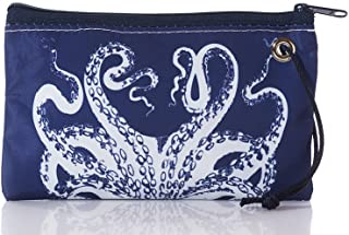 product image for Sea Bags Recycled Sail Cloth White on Navy Octopus Wristlet