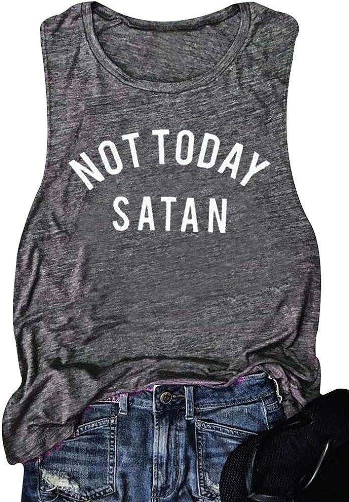 Women Not Today Satan Tank Top Sleeveless Casusal T-Shirts Tops Vest