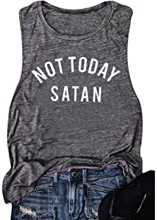 e3a61e63 Women Not Today Satan Tank Top Sleeveless Casusal T-Shirts Tops Vest