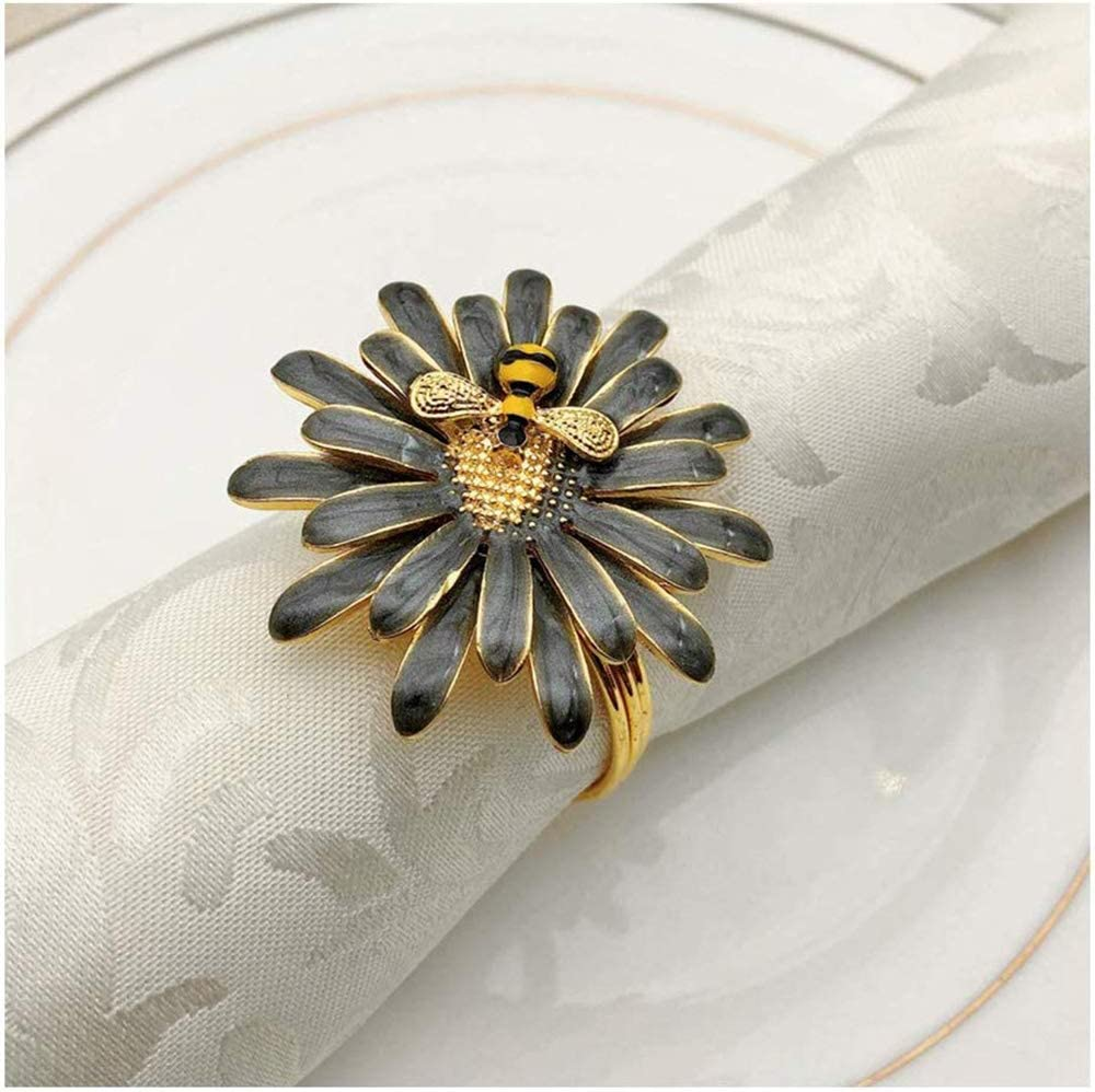 Napkin Rings Alloy Napkin Holder Napkin Buckle Nickel Plated Metal Napkin Rings Table Setting Decor Elegant Adornment Exquisite Household 6pcs for Dinner Party Table Decor Wedding Resturant Banquet