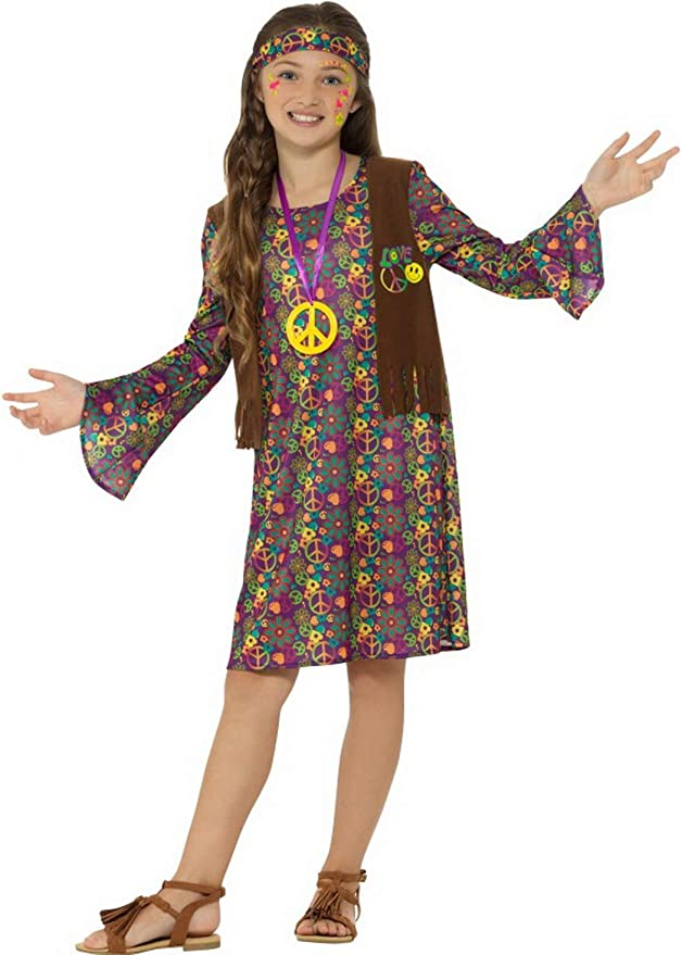 Disfraz de Hippie de Halloween para niña con Vestido de Flower ...