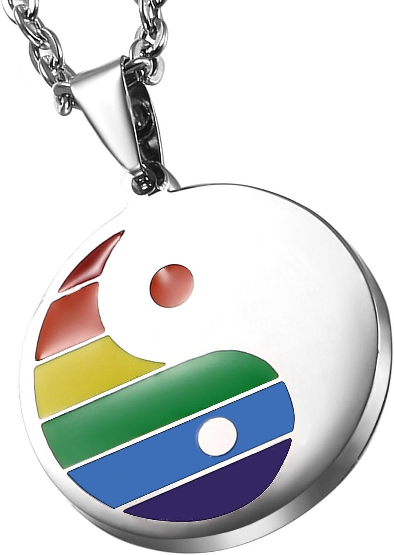 Cupimatch Collar Yin Yang Hombre Acero Inoxidable Arcoiris Gay Colgante Rainbow Regalo para Amor Regalo Día Internacional del Gay Lesbiana