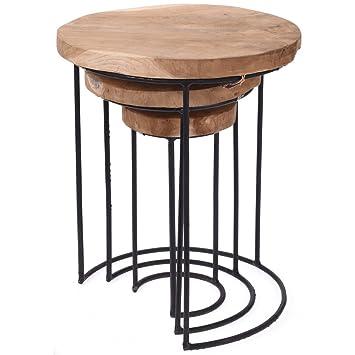 Emako Beistelltisch 3er Set Klein Deko Rund Holz Holztisch