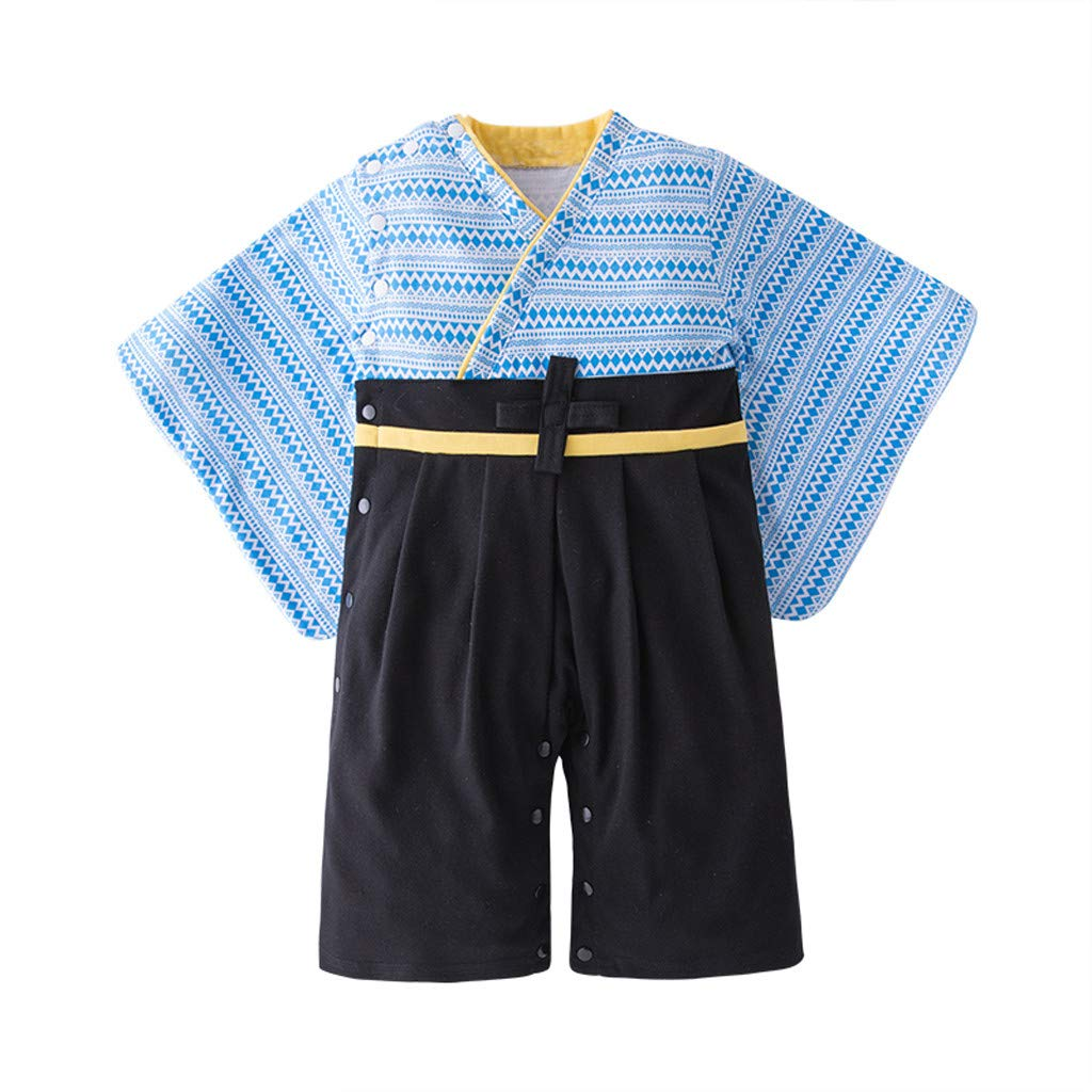 SRYSHKR Baby boy Clothes,Toddler Baby Boys Lake Blue Japanese Romper Stripe Printed Kimono Jumpsuit