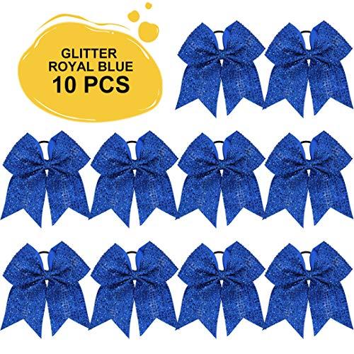 Large Glitter Cheer Bows Ponytail Holder Girls Royal Blue Elastic Hair Ties 7