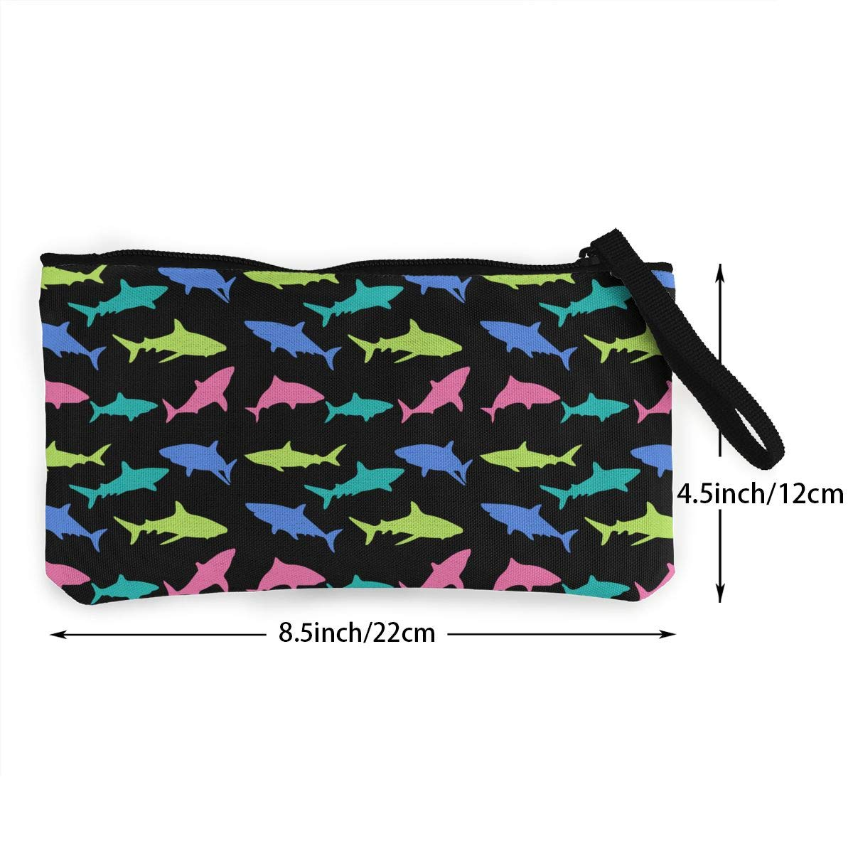 Canvas Coin Purse Colorful Shark Change Cash Bag Zipper Small Purse Wallets