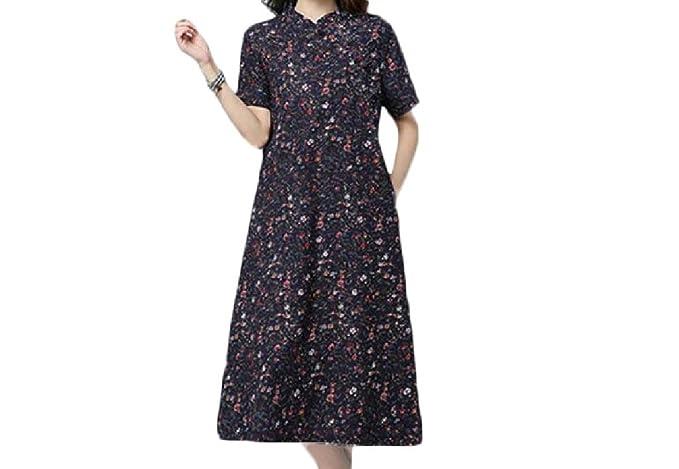 e9fec34e54c Winwinus Women Chinese Style Frock Vintage Folk Style A-line Linen Cotton  Soft Navy Blue