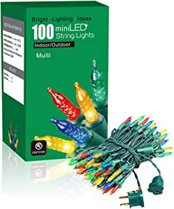EAMBRITE Christmas Mini String Lights 31ft 100 LEDs Multicolor Commercial Grade Christmas Light Set Connectable Home Decor Lights for Christmas Holiday Garden Yard, UL certificates