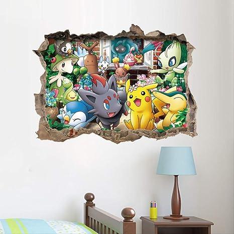 hzcl 3D Dibujos Animados Pikachu Pokemon IR Pared Arte Pegatinas ...