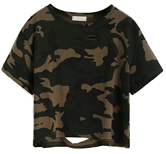 b8963346 SweatyRocks Women's Tshirt Camo Print Distressed Crop T-shirt Summer Tops  ...