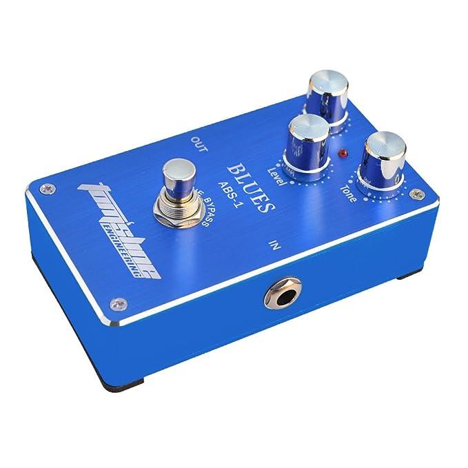 Pedal de efecto - AROMA ABS-1 Pedal de efecto de guitarra electrica de distorsion de blues Cierto traspaso con cascara de aleacion de aluminio Azul: ...