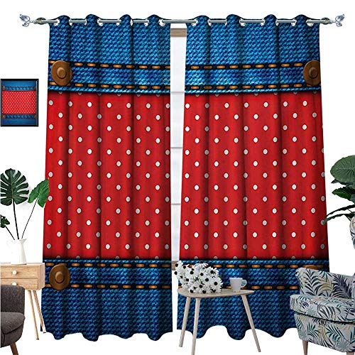 Polka Dots Window Curtain Fabric Jeans Pockets Frame Print with Little Polka Dots Traditional European Art Design Drapes for Living Room W96 x L108 Blue Red
