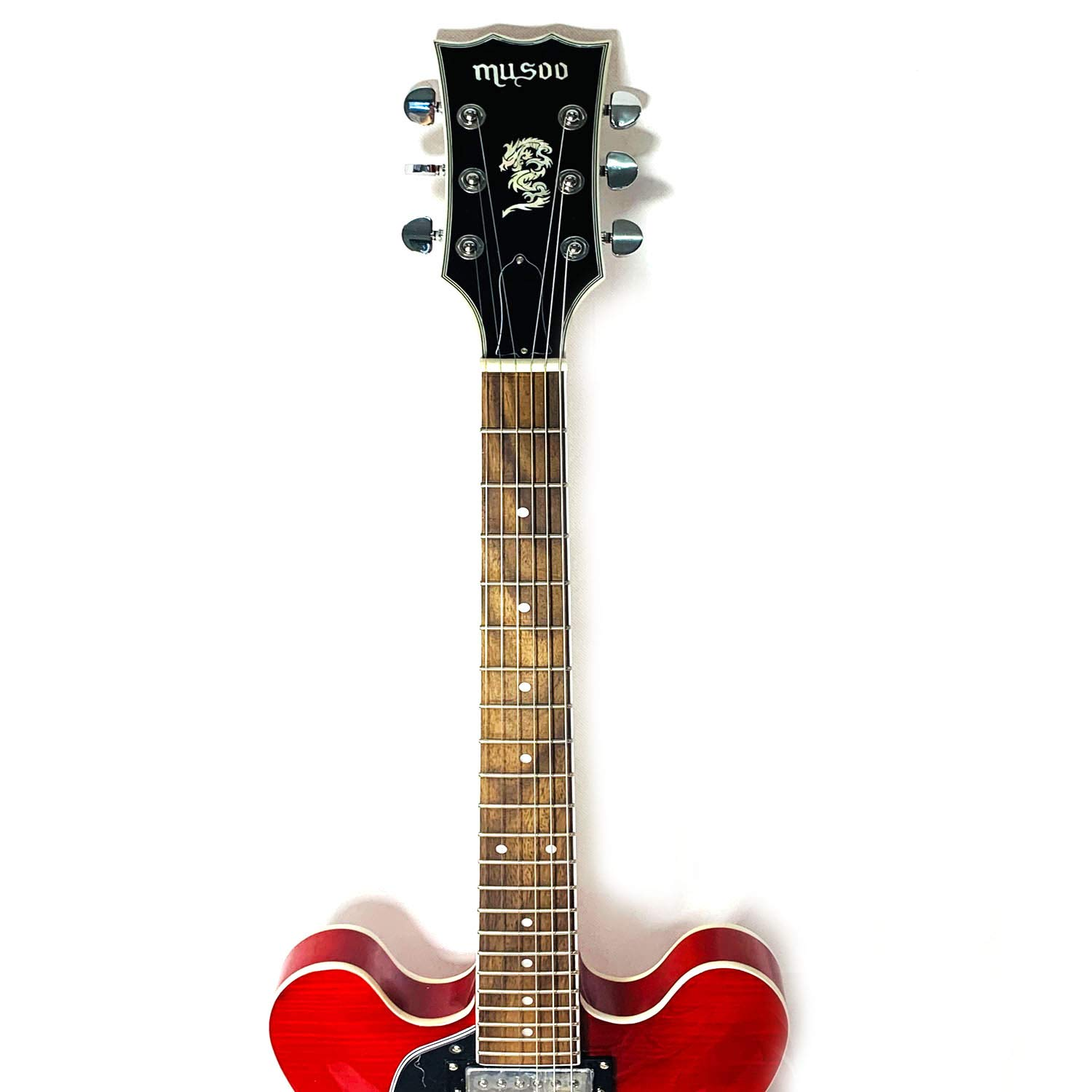 Musoo 335 style left hand Jazz Electric Guitar Flame Maple top Semi-Hollow Body Chrome Hardware