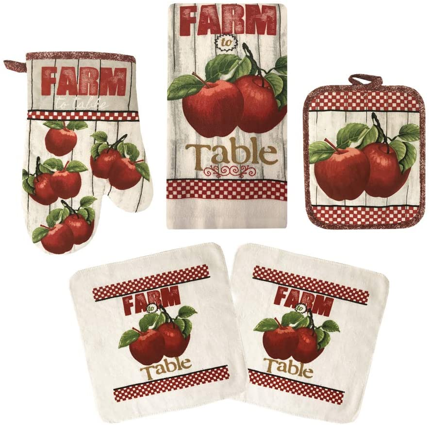 American Linen Oven Mitts and Pot Holders - Kitchen Towels and Dish Cloths Sets - Oven Mitts - Tea Towels - Dish Cloths Set