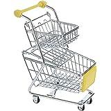 【ノーブランド品】 ミニショッピングカート ダブル ティア トロリーおもちゃ 全8色選べる - イエロー