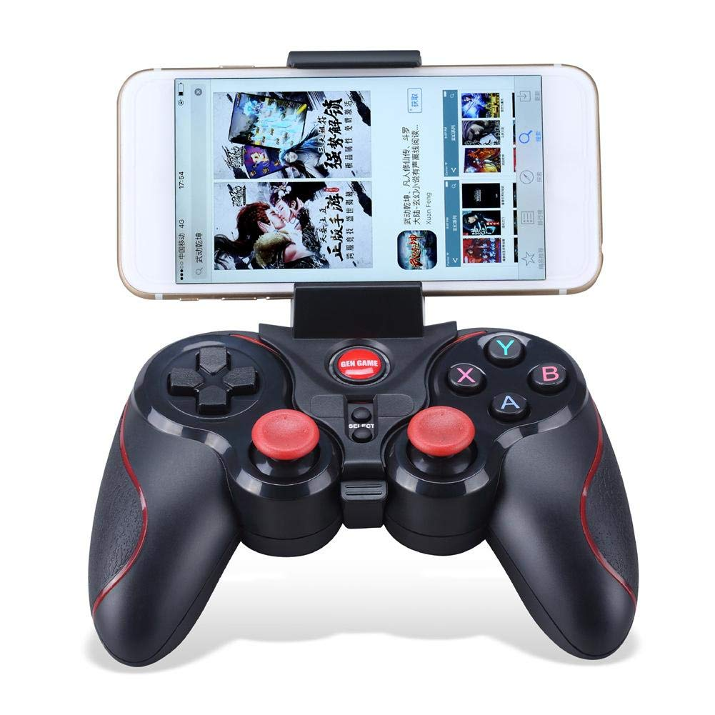 Wireless Bluetooth Rechargeable Game Controller, Bluetooth Gamepad, Wireless Phone Controller with Adjustable Bracket Holder for PC (Windows XP/7/8/8.1/10), PS3, Android, Vista, iOS, TV Box Portable Rundaotong-US