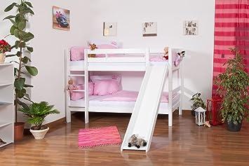 Etagenbett Crazy Circus : Kinderbett etagenbett moritz buche vollholz massiv weiß lackiert mit