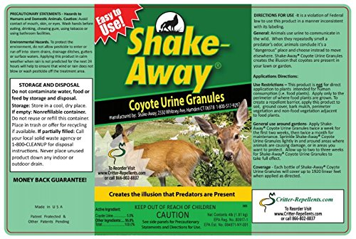 Shake-Away All Natural Deer & Large Animal Repellent (Coyote Urine Granules) 4 LB (Pound) Size - Not 5 Lb by Critter-Repellent (Image #3)