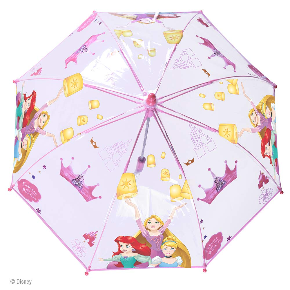 Parapluie Fille Princesses Disney Transparent PFC Free Ouverture de S/écurit/é Manuelle Cloche Enfant Solide et R/ésistant au Vent Diam/ètre 64 cm Perletti 3//6 Ans Cendrillon Raiponce Ariel
