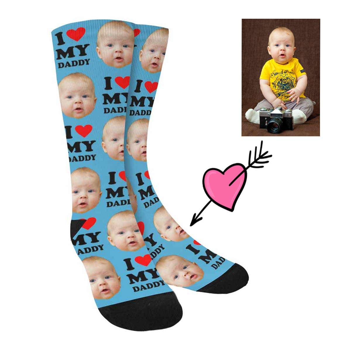 Custom Face Socks,Turn Your Photo Into I Heart My Dad Crew Socks Unisex Gift for Father