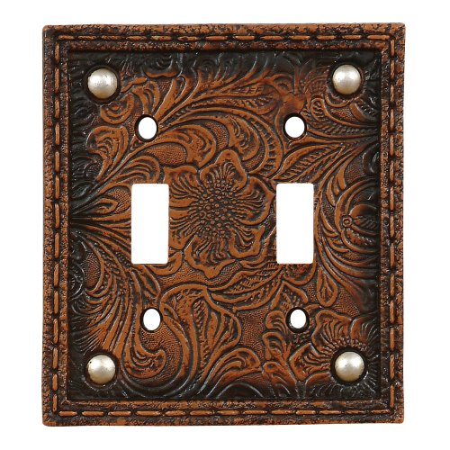 Tooled Flower Leather Lodge Double Switch Plate - Rustic Decor