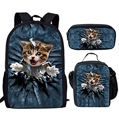 ae43bb7dfc2 Amazon.com  HUGS IDEA 3D Kitten Backpack Set for Teens Boys Girls ...
