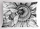Lunarable Nature Pillow Sham, Bee on a Flower Honey Pollen Floral Mother Earth Phase Wildlife Digital Print, Decorative Standard Size Printed Pillowcase, 26 X 20 Inches, Black and White