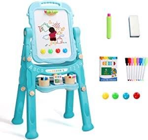 YSOU Easel for Kids, Double Sided Standing Toddler Art Easels with Chalkboard & Whiteboard and Magnetic Art Dry Erase Drawing Board with Art Supplies Accessories for Toddlers Boys Girls
