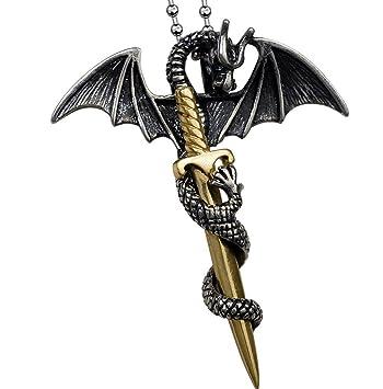 XYLUCKY Dragón de personalidad moda coreana un collar espada ...