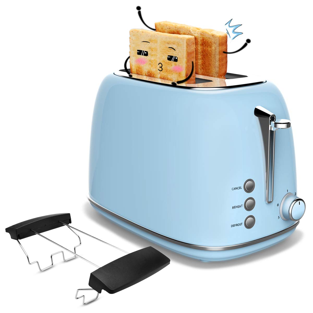 Toaster 2 Slice, Stainless Steel Toasters with Cancel, Defrost Function, Extra Wide Slot Compact Stainless Steel Toasters for Bread Waffles, Blue