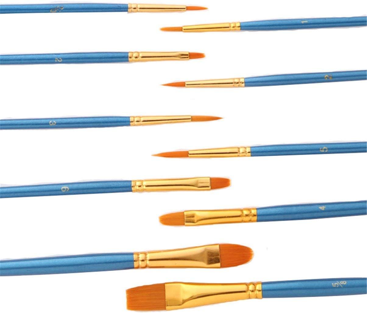 LoveOlvidoD 10pcs Set di pennelli in Nylon Blu Perla Set di pennelli in Nylon Pennello per Capelli in Nylon variet/à Stile Pennello per Pittura a Olio in Acrilico Pen-Pearl Blue