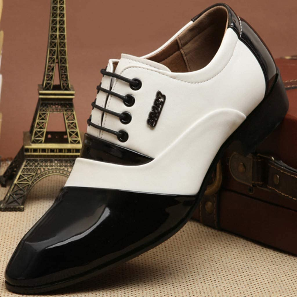 Oxford Dress Shoes for Men RQWEIN Mens Dress Shoes Buckled Formal Leather Shoes White /& Black Wedding Shoes for Men