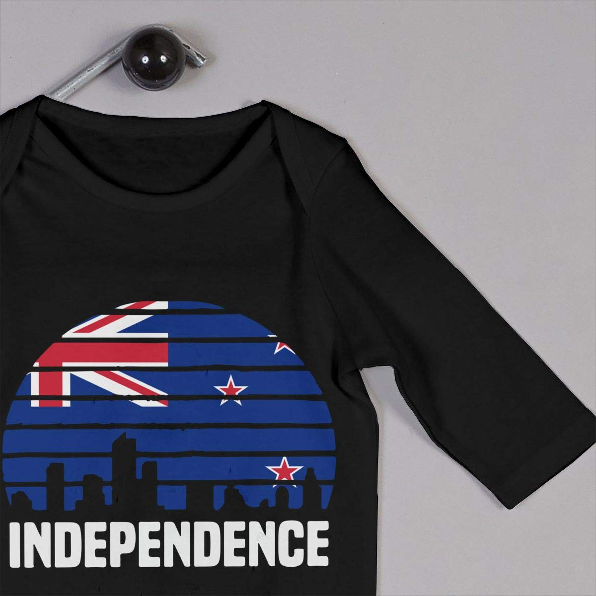 UGFGF-S3 Independence City New Zealand Flag Toddler Baby Long Sleeve Romper Jumpsuit Infant Romper Jumpsuit Onsies