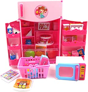 Jiecikou Dollhouse Miniature Accessories Simulation Refrigerator with Food Kit Pretend Play Kids Toy