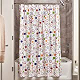 InterDesign Fabric Doodle Shower Curtain for Master, Guest, Kids', College Dorm Bathroom, 72' x 72', Multi-Colored