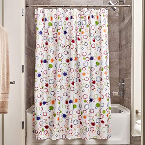 InterDesign Fabric Doodle Shower Curtain for Master, Guest, Kids', College Dorm Bathroom, 72