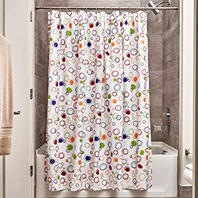 """iDesign Fabric Doodle Shower Curtain for Master, Guest, Kids', College Dorm Bathroom, 72"""" x 72"""", Multi-Colored - FABRIC SHOWER CURTAIN: High-quality wrinkle resistant 100% polyester fabric gives your shower stall a sleek look. Great for master bathroom, guest bathroom, child's bathroom, or basement bathroom STYLISH: Multi-colored doodle print is fashionable and looks great with any decor REINFORCED BUTTON-HOLES: 12 reinforced button-holes with a reinforced top header are suitable for S hooks, shower rings, and other shower curtain hooks for easy hanging - shower-curtains, bathroom-linens, bathroom - 61Pjt0a8HUL. SS400  -"""