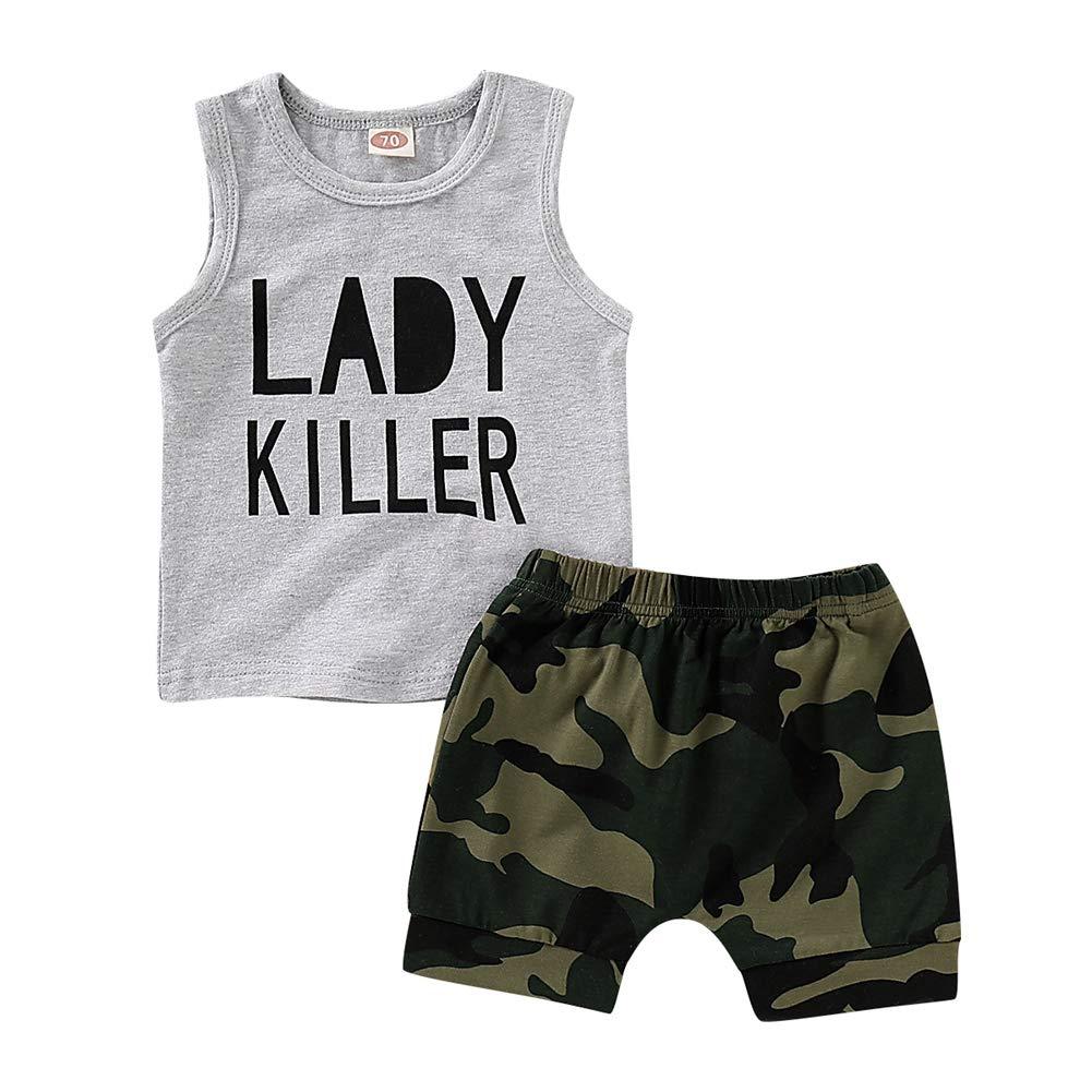 Short Pants Clothes Outfits Set 0-4Years BOBORA Toddler Baby Boy Summer Clothing Set Big Eyes Sleeveless Top