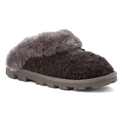 dccd4b32b6c UGG Coquette Slippers Boucle Black Black Size: 6: Amazon.co.uk ...